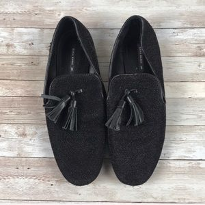 ZARA | Black Glitter Tassel Loafers